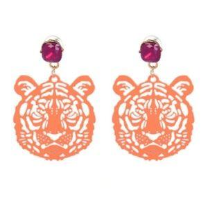 NEW Orange Large Tiger Safari Tribe Drop Earrings
